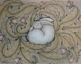Pen and ink/color pencil drawing of sleeping rabbit.