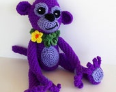 Purple and Lavender Monkey Toy Crochet Jungle Animal Plush Amigirumi Year of the Monkey Childs Toy