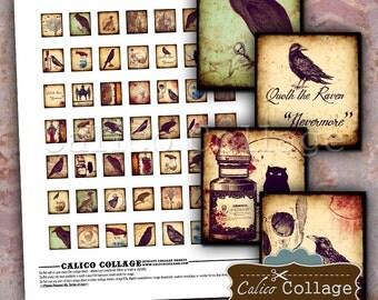 Gothic Scrabble Tile Collage Sheet - Raven Collage Sheet - Halloween Images - Printable Paper - Decoupage Paper - Scrabble Tile