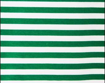 "Peppermint green stripes 1/2"" cotton lycra knit 1 yard"