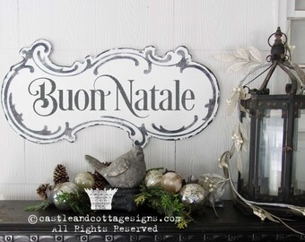 Buon Natale Vintage Christmas Sign Hand Painted Ornate Cottage Sign Chippy Distressed Lettering Free Shipping Castle And Cottage Signs