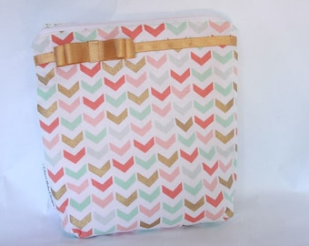 Small,wetbag ,mint corral and gold ,cotton print,pul, Cosmetic & Toiletry Storage,travel bag,accessories bag