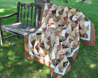 Homemade Quilt - Throw Size Quilt - cabin quilt - camper quilt - bed cover -cozy - hand tied - throw quilt - cabin quilt -picnic quilt