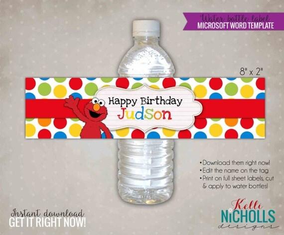 Custom Elmo Water Bottle Label Template By
