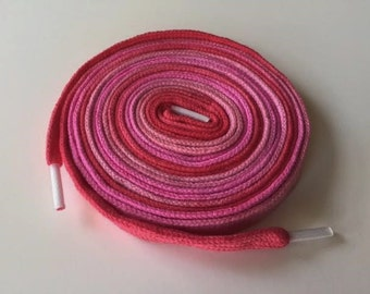 Hand Dyed High Top Shoelaces (63 inch) Party in Pink