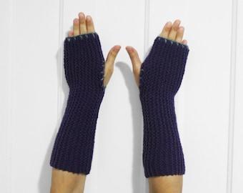 SALE Long Fingerless Gloves / Armwarmers [Purple & Gray]