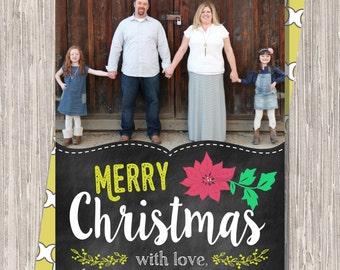 Chalkboard Photo Christmas Card : Merry Christmas Custom Photo Holiday Card
