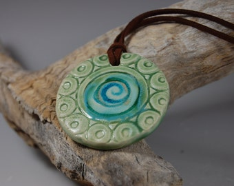Glass Infused Pottery Pendant J02 Necklace, Meadow Green