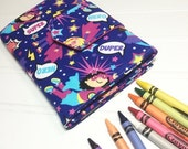 LABOR DAY SALE 20% off - Crayon Wallet - Ready To Ship Hip Trendy Travel -  Super girl
