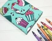 Children's Coloring Wallet - READY TO SHIP - Hip Trendy Kid Travel - Cupcakes