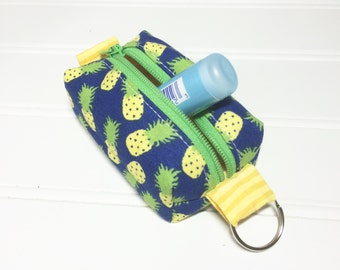 Tiny boxy bag keychain pouch - Pineapples
