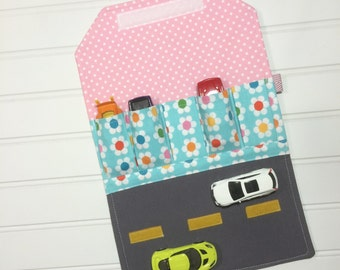 Remix flowers, Toy car wallet, Anne Kelle, Gift for girls, Girls travel wallet, Activity play mat, Compact toy, Car roll up, Car play mat