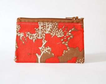 Small Zipper Pouch, Red Tree Fabric, Coin Purse, Card Wallet, Gadget Case, Organizer Bag, Ready to ship, Gift idea