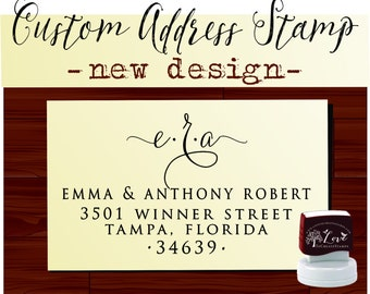 Monogram Return Address Stamp, Custom address stamp - SELF INKING stamp,  Wedding stamp - Style 114