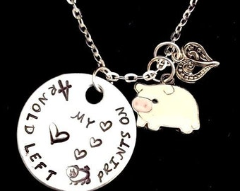 Pig Necklace - Pet Memorial Jewelry - Pet Memorial Gift - PIG Lover - Hand Stamped Jewelry - You Left Pig Prints on my Heart - Custom Name
