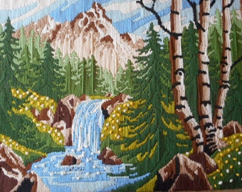 Vintage Needlepoint Picture Waterfall Forest Mountains Trees River Nature Outdoors Cabin Decor 18 X 24 Large Embroidered Finished Picture