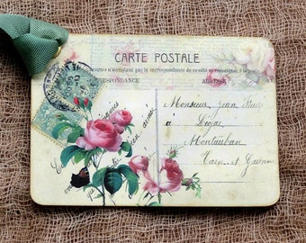 French Pink Rose Postcard Gift or Scrapbook Tags or Magnet  #369
