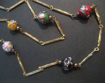Vintage Murano Venetian Glass Necklace, Wedding Cake Lampwork Beads