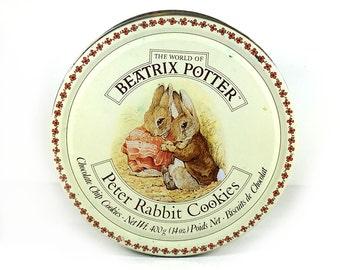 Vintage Beatrix Potter Tin - Round Decorative Tin, Lidded, Peter Rabbit Cookies
