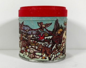 Tiny Christmas Tin, Christmas in the Woods, Round Metal Tin