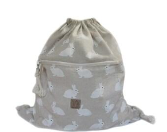 rabbit backpack cotton linen