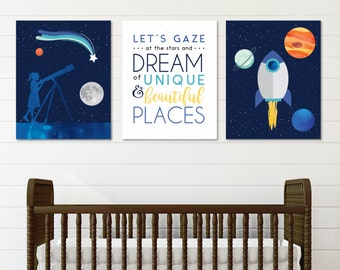 Outer Space Nursery, Space Nursery Art, Kids Room Art, Nursery Decor, Spaceship  Nursery Artwork // ArtPrint or Canvas // N-XC06-3PS AA1 05P