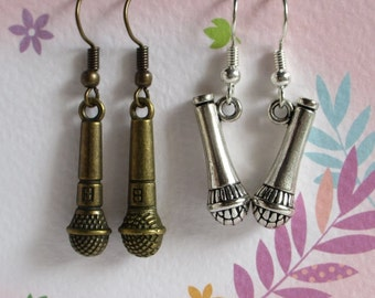 Microphone Earrings, Antiqued Silver, Brass Mic, Miniature Gift, Clearance Sale