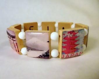 JAPAN Bracelet / SCRABBLE Handmade Jewelry / Pagoda - Temple - Mt. Fuji - Japanese Landmarks Sights  / Unusual Gifts