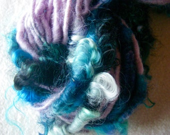 Handspun Hand Dyed Soft Curly Textured Wool Bulky Art Yarn in Lavender with Multi Mohair Curls by KnoxFarmFiber for Knit Weave Embellishment