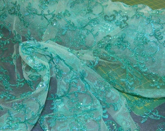 More Than Stunning Embellished Special Occasion Fabric in Apricot or Teal