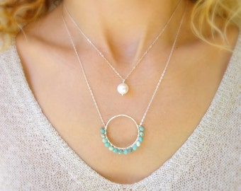 Large circle necklace, sterling silver geo necklace, layering necklace, green opal, wire wrapped gemstone necklace, otis b, geometric