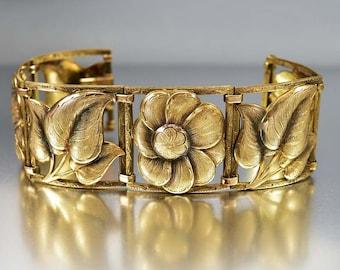 Rolled Gold Art Deco Bracelet, Kollmar Jourdan Germany Engraved Leaf Daisy Flower, Wide Bohemian Bracelet, Vintage 1930s Art Deco Jewelry