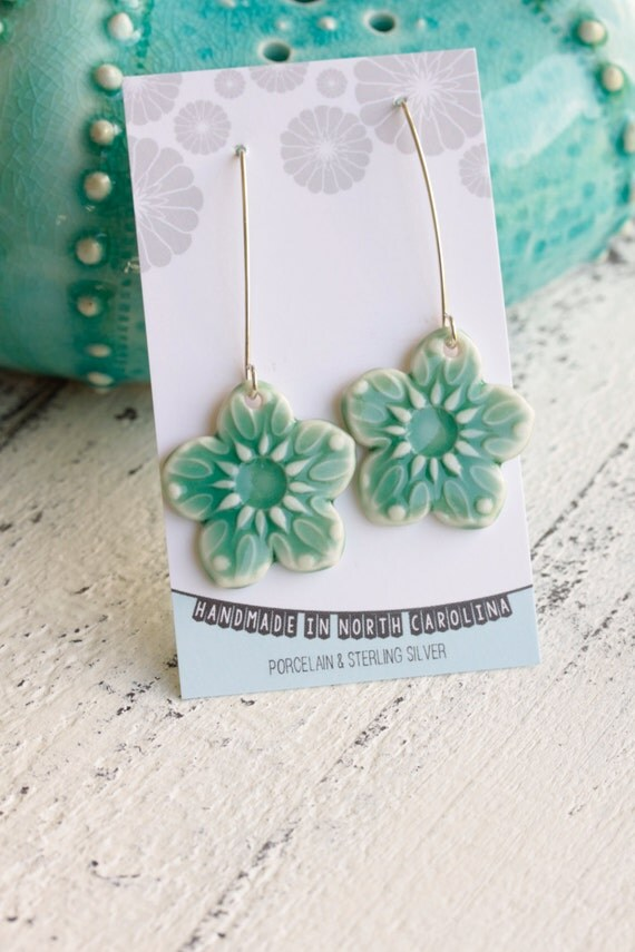 long dangle flower earrings in aqua