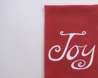 Linen Tea Towel - Joy - Holiday Tea Towel - Choose your fabric and ink color