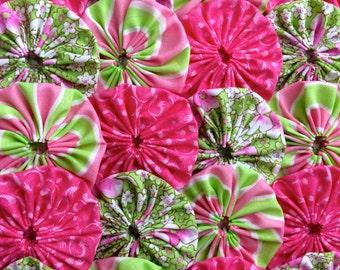 "Fabric Flower Wedding 50 MINT Green Pink  Yo Yo 1 1/2""  Inch Headband Bobby Pin Barrette Hair Clip Trim Applique"