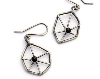 Sterling Silver Earrings, Onyx Earrings, Spider Web Earrings, Oxidized Silver Dangle Earrings, Geometric Jewelry, Contemporary Jewelry