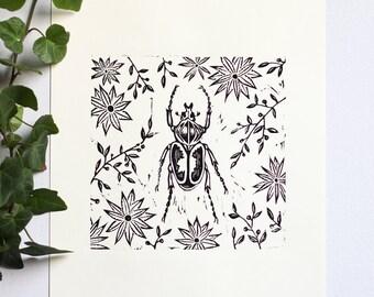 "Beetle & Botanical Linocut Relief Print • Wall Art • Original Art Print • 6"" x 6"" Print"