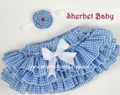 Classic Style Blue Gingham with Bow Color of Your Choice  Sassy Pants Ruffle Diaper Cover Bloomer