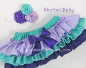 Classic Style Ruffle Sassy Pants Diaper Cover Bloomer Lavender Purple Stream Green