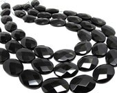 Onyx Beads, 18mm x 25mm, Black Onyx, Luxe AAA, Faceted Oval, Onyx Beads, SKU 4089A
