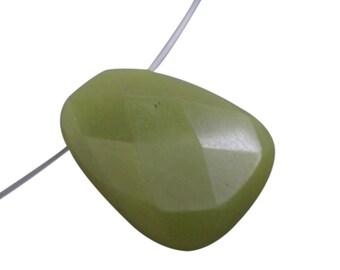 Olive Jade Pendant, Olive Jade Briolette, Focal, 22mm x 29mm, SKU 4264