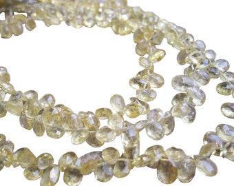 Natural Yellow Aquamarine Beads, Rare Stone, Faceted Pear Briolettes, Loveofjewelry, SKU 1740