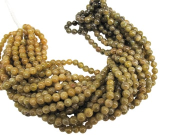 Grossular Garnet Beads, Green Garnet Beads, Smooth Round, January Birthstone, SKU 4526A