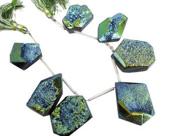 Green Druzy Beads, Drusy Quartz, Drusy, Green Druzy, Druzy Quartz Bead, Oblong Drops, SKU 4889