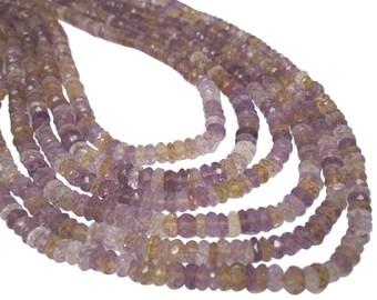 Ametrine Beads, Ametrine Rondelles, Luxe AAA, Mixture of Amethyst and Citrine, 5048