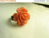 Flower ring ... vibrant orange resin blooming rose on antique brass adjustable ring ... stop and smell the roses