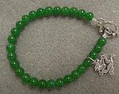 Boho Gypsy Aventurine Bracelet with Sterling Dragon