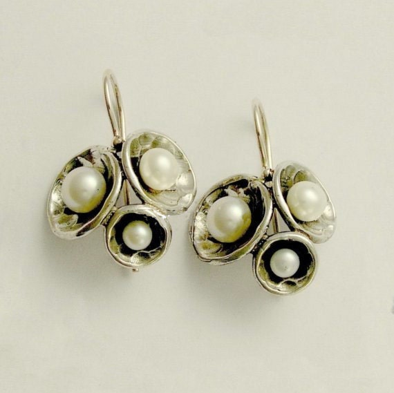 Sterling silver Earrings, dome cluster earrings,  pearls earrings, June birthstone earrings, dangle pearls, simple - Pearl Clusters E2046