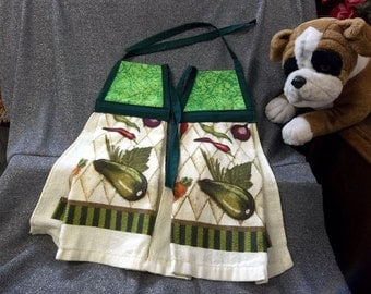 Hanging  Kitchen Terry Tie Towels, Green Calico Print Top
