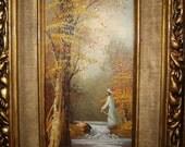Vintage Painting Frame Stream Trees Fisherman Mid Century